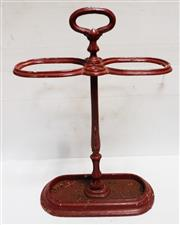 Sale 8312A - Lot 56 - Antique French cast iron umbrella / stick stand painted red, height 63 cm