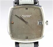 Sale 8402W - Lot 23 - BUCHERER INTRA MATIC SELF WIND WRISTWATCH; cushion shape grey bronze dial with applied and recessed markers, date, on a Bruen & Co....