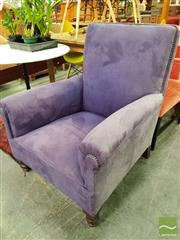 Sale 8550 - Lot 1458 - Purple Velvet Upholstered Armchair with Studded Trim & Turned Legs to Front