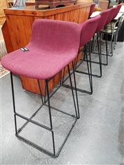 Sale 8680 - Lot 1041 - Set of Six High Top Purple Upholstered Bar Stools