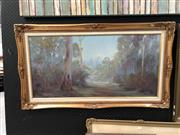 Sale 8803 - Lot 2091 - P. Grimanes Morning Sunlight Approaching 1981 oil on board, 60 x 106cm (frame), signed