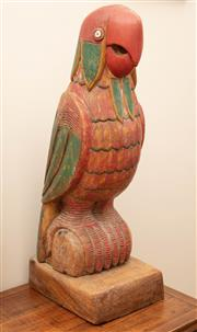 Sale 8863H - Lot 71 - An oversized painted and carved timber parrot, Height 68cm