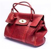 Sale 8921 - Lot 49 - A MULBERRY LEATHER BAYSWATER BAG; burgundy textured leather with rolled handles, gold tone hardware and padlock (missing key) intern...
