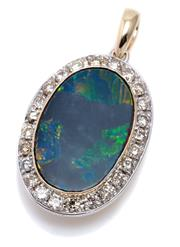 Sale 8982 - Lot 383 - AN 18CT GOLD OPAL AND DIAMOND PENDANT; centring on a 24 x 16mm black opal doublet (some scratches and chips around edges) surrounded...