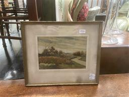 Sale 9106 - Lot 2046 - F.S Rodriguez Country Landscape with river watercolour and gouache, frame: 28 x 33 cm, signed and dated lower right -