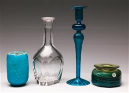 Sale 9119 - Lot 183 - A selection of glass ware inc small vases and candlestick (H 26cm)