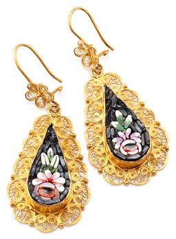 Sale 9128J - Lot 21 - A PAIR OF VINTAGE 20CT GOLD MICRO MOSAIC EARRINGS; drop shape pendants set with glass tesserae depicting flowers (metal backs) in go...