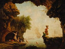 Sale 9133 - Lot 570 - Artist Unknown Bathers in the Cave & Distant View of a City oil on canvas laid on board 74.5 x 100.5 cm (frame: 101 x 127 x 9 cm) un...