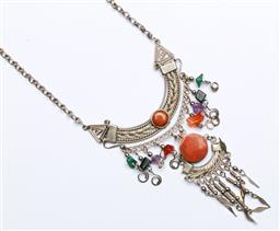 Sale 9164 - Lot 421 - Cultural Silver and Semi Precious Stone Necklace, Unmarked, (wt 18.25 grams approx)