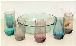 Sale 9239H - Lot 84 - A Jamie Oliver glass bowl, D 30cm, together with a quantity of polychrome dirnking glasses.