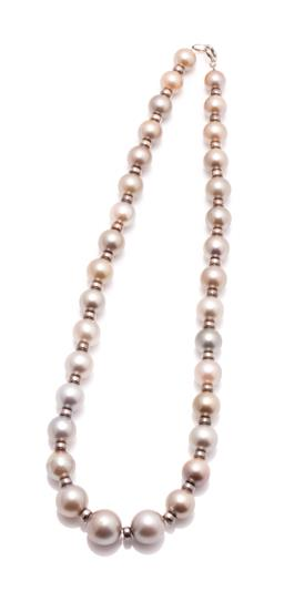 Sale 9260H - Lot 348 - A graduated Tahitian pearl necklace; 9.7-13.6mm round cultured pearls of various hues between glass bead spacers to silver bolt ring...