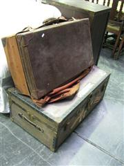 Sale 7937A - Lot 1130 - Metal Bound Trunk with Vintage Fitted Suitcase