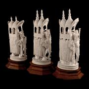 Sale 8000 - Lot 280 - Three Indian ivory finely carved elephants with howdah and trappings on wooden stands. (3)