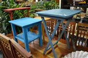 Sale 7987A - Lot 1332 - Pair Of Folding Tables, Bentply Stool And A Blue Side Table