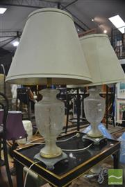 Sale 8326 - Lot 1238 - Pair of Glass Urn Form Base Table Lamps