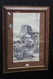 Sale 8362 - Lot 286 - Framed Chinese Watercolour of a Mountain Scene