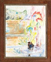 Sale 8440A - Lot 51 - Artist Unknown - Interior Scene with Flowers 37 x 47cm