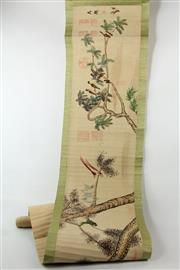 Sale 8586 - Lot 223 - Scroll Depicting Birds and Flowers ( L 352cm)