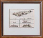 Sale 8625A - Lot 79 - A framed map of Pitcairn Island, titled Carte Et Vues De LIsle Pitcairn, in timber frame.