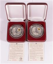 Sale 9035M - Lot 841 - Two Perth Mint 1996 Kookaburra 2oz Fine Silver Proof $2 coins with Star Pagoda Privy mark, both with certificate of authenticity,...