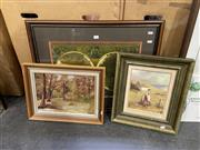 Sale 9050 - Lot 2073 - 3 works - Leila Brown and B Justice, decorative oil paintings, each signed, together with a framed decorative map of the world