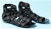 Sale 9090F - Lot 124 - A PAIR OF GIUSEPPE ZANOTTI FOR BALMAIN FLAT GLADIATOR SANDALS; in black with gold stud detail, size  38.5