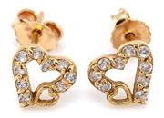 Sale 9095 - Lot 350 - A PAIR OF 18CT GOLD STONE SET HEART STUD EARRINGS; 8 x 8mm hearts each set with brilliant cut zirconias, wt. 1.48g.
