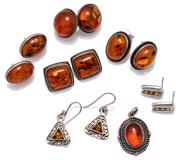 Sale 9090J - Lot 320 - SIX PAIRS OF AMBER SET EARRINGS AND PENDANT; triangular drops on shepherds hooks, length 30mm, 5 pairs of studs incl. cushion form 1...