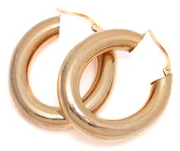 Sale 9140 - Lot 340 - A PAIR OF 9CT GOLD HOOP EARRINGS; 6mm wide oval hollow hoops (few dents) to lever back fittings, length 33m, wt. 4.30g.