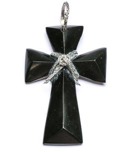 Sale 9156 - Lot 96 - A Hardstone and Silver Byzantine Rope Cross, c1920, (H:10cm)