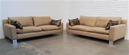 Sale 9174 - Lot 1373 - Pair of modern low lying square form fabric lounges (h:70 w:210 d:95cm)