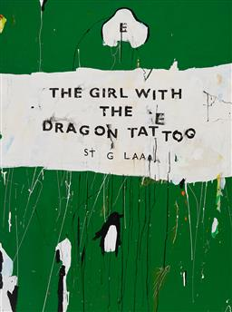 Sale 9252A - Lot 5019 - BEN TANKARD Unpopular Penguins 60: The Girl with the Dragon Tattoo, 2016 oil on canvas 122.5 x 91.5 cm signed, dated and titled verso