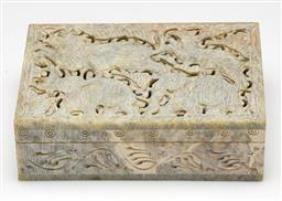 Sale 9253 - Lot 57 - A carved soapstone box featuring African animals to pierced lid (L:15.5cm)