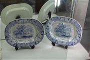 Sale 8047 - Lot 7 - Pair of Large Victorian Blue and White Warwick Vase Platters by Elkin & Newborne