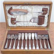 Sale 8440A - Lot 52 - A canteen containing a silver plate fish service for 6 including servers by Mappin & Webb