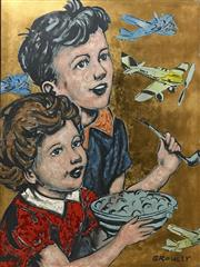 Sale 8527A - Lot 17 - David Bromley (1960 - ) - Kids Plane Gazing 120 x 90cm