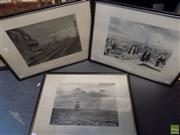 Sale 8557 - Lot 2069 - Maurice Branger (3 works) - Travels in Paris; London to Manchester; Tall Ship at Sea and Aeroplane 26 x 38cm, each (frame size: 4
