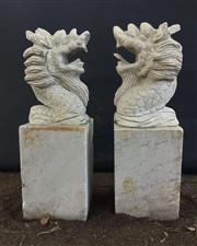 Sale 8857H - Lot 34 - A Pair Carved Stone Dragon Statues / Finials ,General Wear , Some Chipping, Size 60cm H x20 cm W,