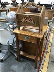 Sale 8889 - Lot 1310 - Timber Side Table and Magazine Rack (2)