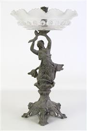 Sale 8905S - Lot 676 - A spelter and glass centrepiece with mermaid form to base. Height 42cm