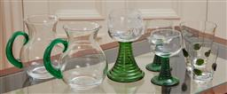 Sale 9098H - Lot 83 - A small group of green stem glassware comprising two jugs, two beakers, two footed glasses and another etched example (needs gluing).
