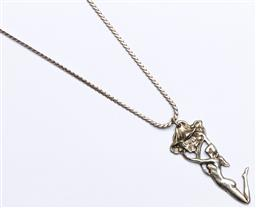 Sale 9164 - Lot 354 - Art Nouveau Style Figural Sterling Silver Pendent and Chain, Marked 925 , (wt 24grams)