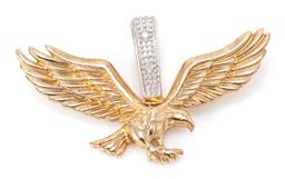 Sale 9182 - Lot 352 - A 9CT GOLD DIAMOND EAGLE PENDANT; with a wingspan of 33mm to bale set with 2 single cut diamonds, size 20 x 33mm, wt.3.34g.