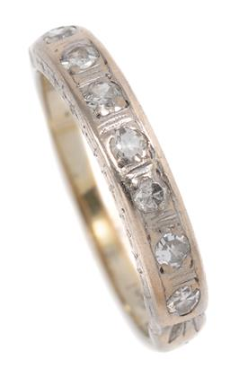 Sale 9186 - Lot 314 - A VINTAGE 18CT WHITE GOLD HALF HOOP DIAMOND RING; set in platinum with 7 single cut diamonds totalling approx. 0.21ct, size J, wt. 2...