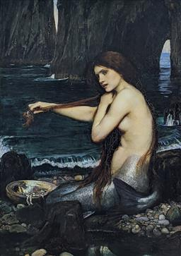 Sale 9237A - Lot 5086 - AFTER JOHN WILLIAM WATERHOUSE (1849-1917) (ENGLISH) Mermaid, 1900 offset lithograph 72 x 50 cm (frame: 89 x 67 cm) signed in print