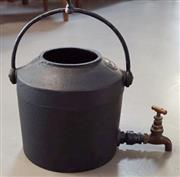 Sale 8320 - Lot 703 - Large cast iron hot water container with brass sprout (lid missing) circa 1900