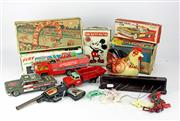Sale 8330T - Lot 109 - Collection of Vintage Toys; Disney Mickey Mouse Combo Safe Bank by Fricke & Nacke, Western Germany, Japanese tinplate friction power...