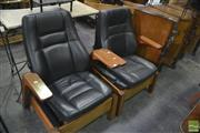 Sale 8386 - Lot 1085 - Pair of Adjustable Timber Frame Armchairs ( in the form of re purposed car seats)