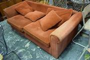 Sale 8532 - Lot 1365 - Red Fabric 3 Seater Lounge
