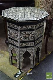 Sale 8542 - Lot 1002 - Pair of Mother of Pearl Inlaid Octagonal Side Tables